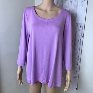 J. Jill lilac 3/4 sleeve seamed tee, XL